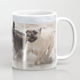 Fench Bulldogs on the beach Coffee Mug