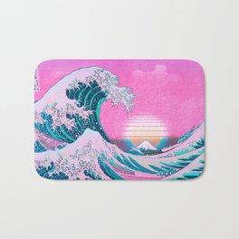 Vaporwave Aesthetic Great Wave Off Kanagawa Sunset Bath Mat