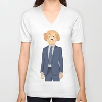 poodle V-neck T-shirts featuring Posing Poodle by drawgood