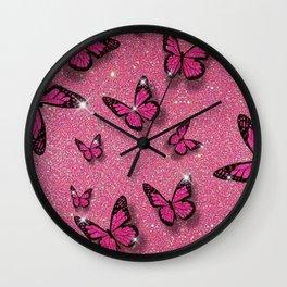 Sparkle Butterflies Wall Clock