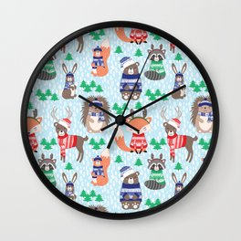 Christmas woodland Wall Clock