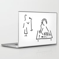 engineer Laptop & iPad Skins featuring sound engineer studio admission mixing writing desk by Lineamentum