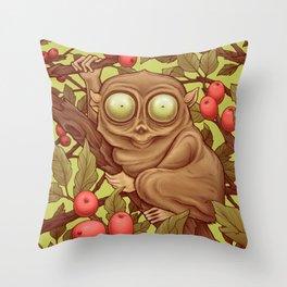 The Caffeinated Tarsier Throw Pillow