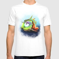Sad Little Fish White Mens Fitted Tee MEDIUM