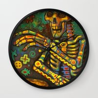 drums Wall Clocks featuring Death Drums by Sherdeb Akadan