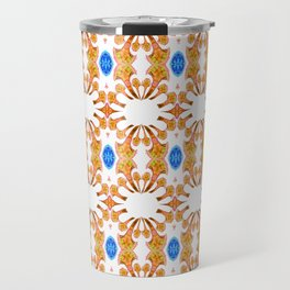 Lush Geometry Series Golden Floral with Sapphire Accent Travel Mug