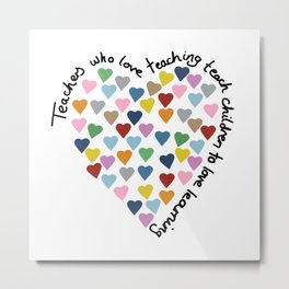Hearts Heart Teacher Metal Print