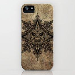 Ancient Stone Mayan Sun Mask iPhone Case