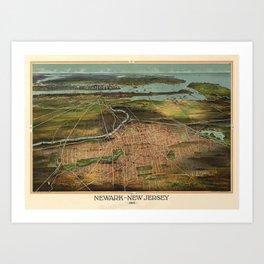 Map Of Newark 1916 Art Print
