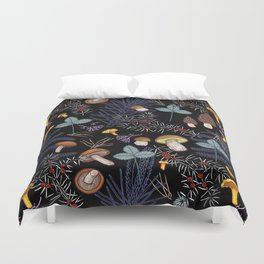 dark wild forest mushrooms Duvet Cover
