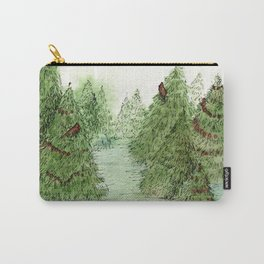 Pine Trees Christmas Forest Landscape Watercolor Carry-All Pouch