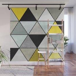 Colorful Concrete Triangles 2 - Yellow, Blue, Grey Wall Mural