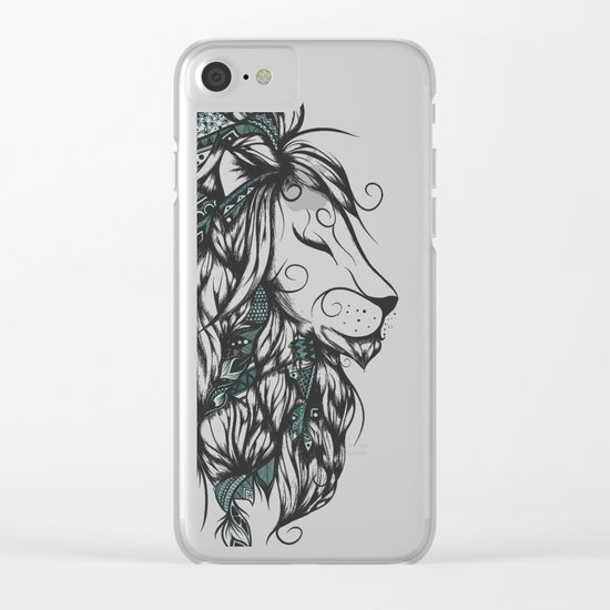 Poetic Lion Turquoise Clear iPhone Case