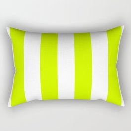 Vertical Stripes - White and Fluorescent Yellow Rectangular Pillow