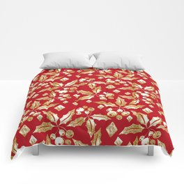 Christmas pattern.Gold sprigs on a bright red background. Comforters