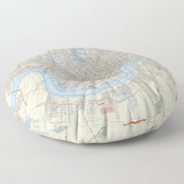 New Orleans Vintage Map Floor Pillow
