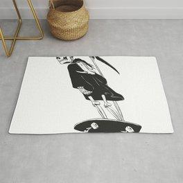 Grim reaper skater - funny skeleton - gothic monster - black and white Rug