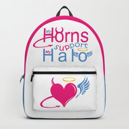 """My Horns Support My Halo"" Backpack"