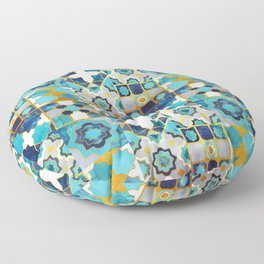 Spanish moroccan tiles inspiration // turquoise blue golden lines Floor Pillow