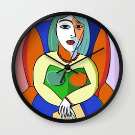 Woman With A Kindle Wall Clock