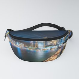 Sydney Skyline dressed in deep blue tones Fanny Pack