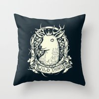 the thing Throw Pillows featuring Wild Thing by Mike Koubou