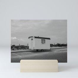 Cabin on the beach - Zandvoort The Netherlands photo | Black and white monochrome hippie nomad travel photography art print Mini Art Print