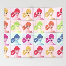 Pop art Vintage Barbie pattern Throw Blanket