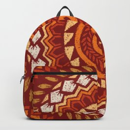 Retro Abstract 60s 70s Polynesian Tattoo Design Vintage Red Backpack