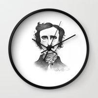 edgar allan poe Wall Clocks featuring Edgar Allan Poe by Sydney Morrow