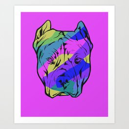 Colorful Pit Bull Dog On Purple Background Art Print