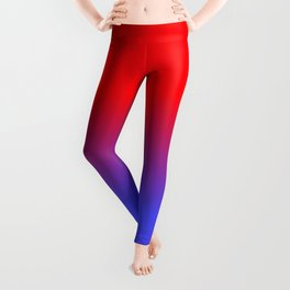 Neon Red and Bright Neon Blue Ombre Shade Color Fade Leggings
