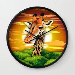 Giraffe on Wild African Savanna Sunset Wall Clock