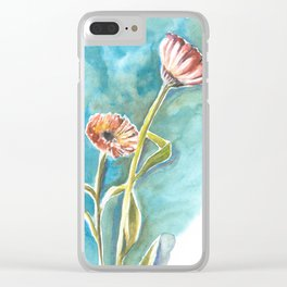 Blooms on Turquoise Clear iPhone Case