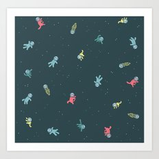 Space Cats! tiling pattern Art Print