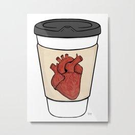 Heart On My Coffee Sleeve - Brush stroked heart Metal Print