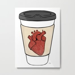 Heart On My Coffee Sleeve - Brush stroked heart Metal Print