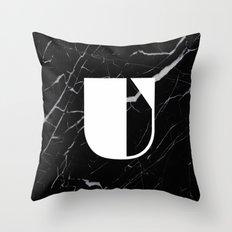 Black Marble - Alphabet U Throw Pillow