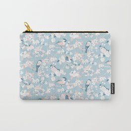 Blossom and Birds Blue Grey and Pale Coral Carry-All Pouch