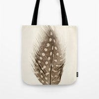 feather Tote Bags featuring Feather by Mina Teslaru
