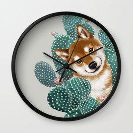 Shiba Inu and Cactus Wall Clock
