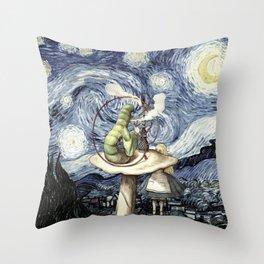 Alice & The Caterpillar Starry Night - Alice In Wonderland Throw Pillow