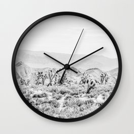 Joshua Tree // Black and White Vintage Desert Landscape Cactus Mountains Wall Clock