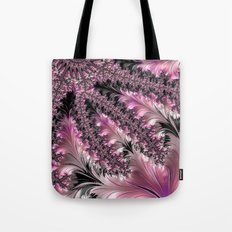 Funky Fun Elegant Feminine Girly Pink Black Trendy Stylish Feathers Delicate Intricate Fractal Art Tote Bag