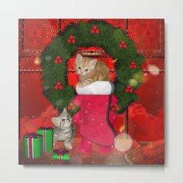 Christmas, funny kitten Metal Print