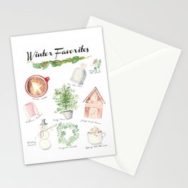 Winter Favorites in Watercolor Stationery Cards