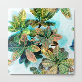 Botanic Leaves Print In Fresh Colors Metal Print