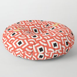 Round Pegs Square Pegs Red-Orange Floor Pillow