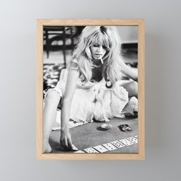 Brigitte Bardot Playing Cards, Black and White Photograph Framed Mini Art Print