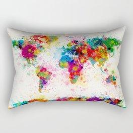 Map of the World Map Paint Splashes Rectangular Pillow